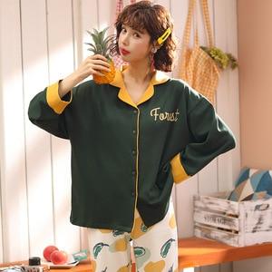 Image 5 - Женская одежда для осени и зимы, пижамные комплекты, одежда для сна, милая мультяшная Пижама, Женская Хлопковая пижама с длинным рукавом для женщин
