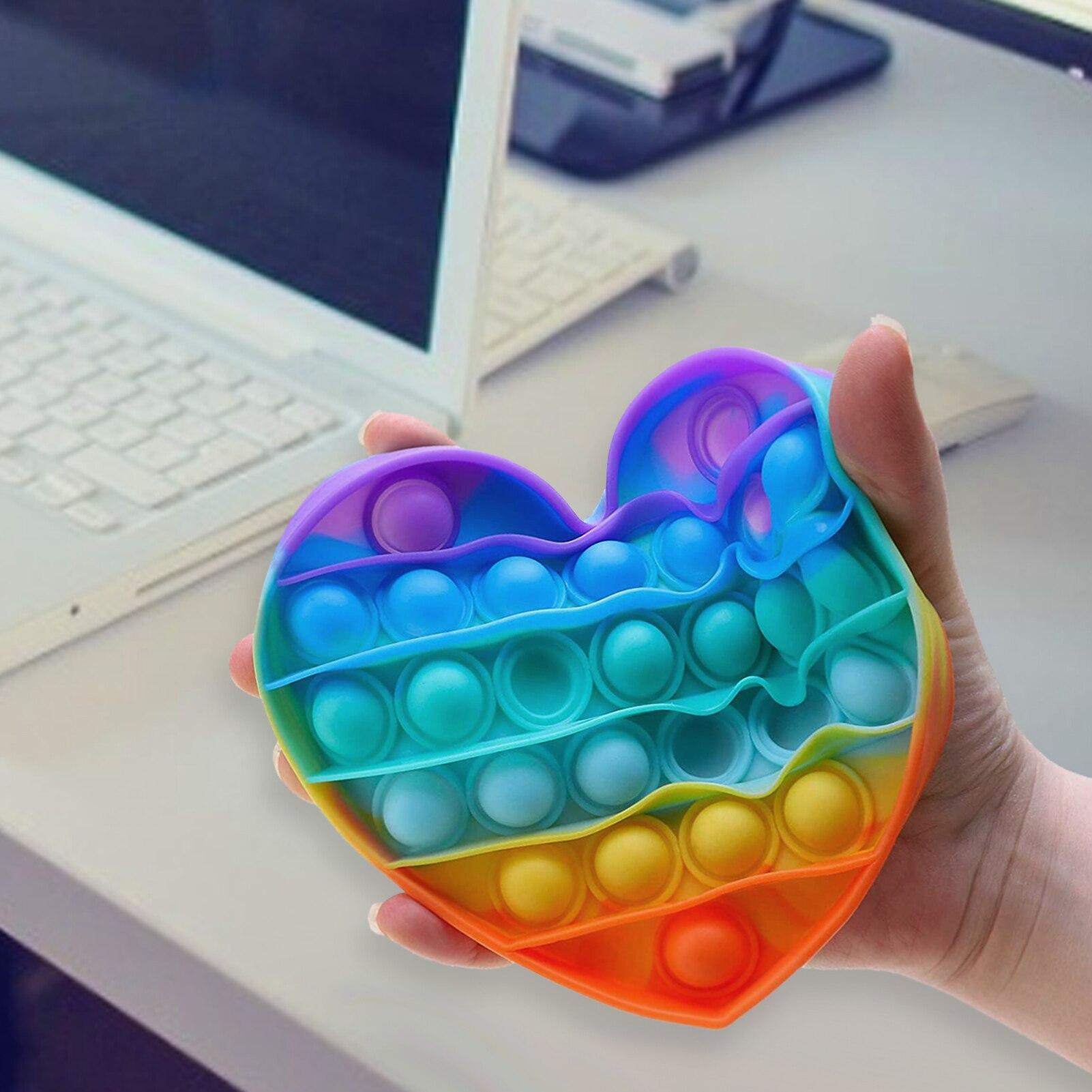 Brinquedo do arco-íris da bolha dos pops dos brinquedos da inquietação para o autismo necessidades especiais do autismo de adhd