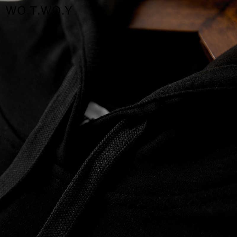 WOTWOY осень уличная Печать с капюшоном женское платье 2019 длинный рукав до середины икры Длинные прямые Женская худи платья женская одежда