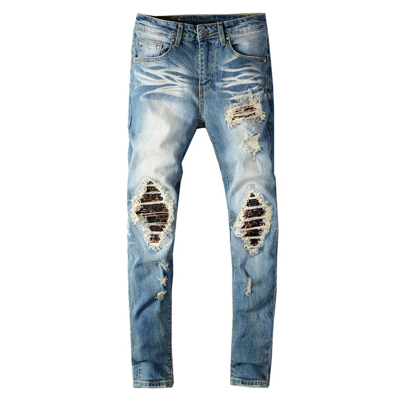 Men's Printed Pleated Patchwork Biker Jeans Streetwear Holes Ripped Stretch Denim Slim Skinny Pants