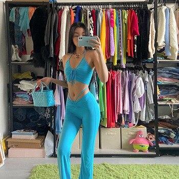 Pants 2 Piece Set 2021 Summer Streetwear Sexy Bandage Blue Suits Fashion Drawstring Halter High Waist Flare Women Tanks top 1