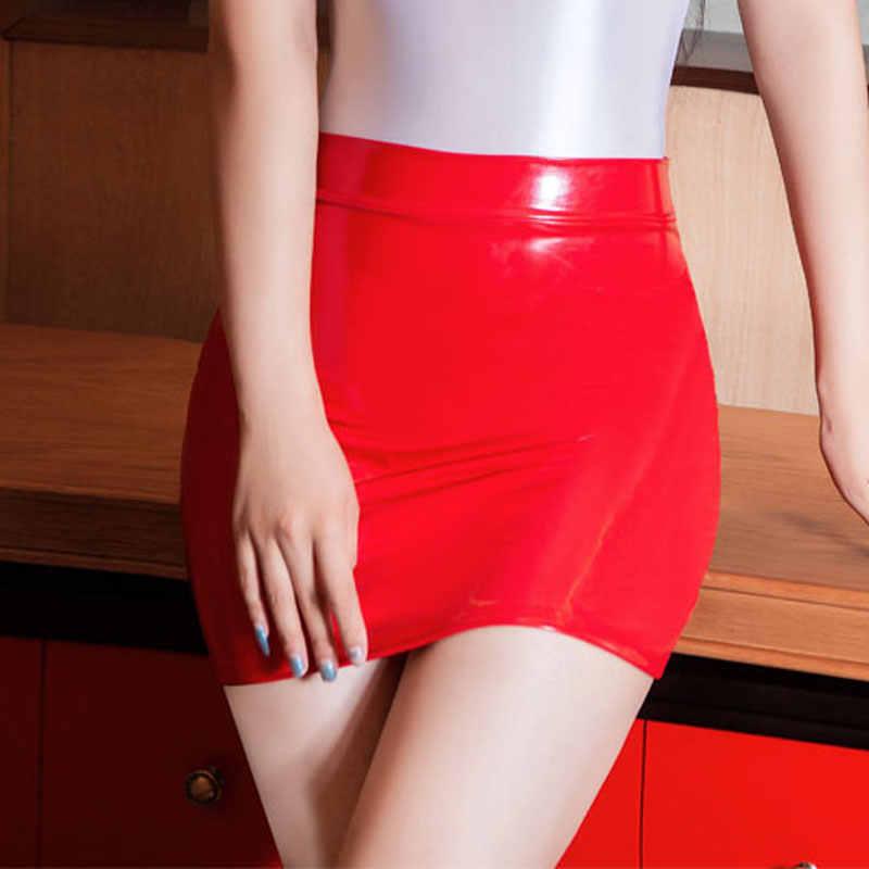 Olミニスカートセクシーな光沢のある光沢のあるタイトな鉛筆のスカートキャンディーカラーハイカットマイクロミニスカートエロクラブ摩耗セクシーな女性