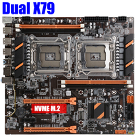 Placa base X79 para CPU dual, dispositivo de procesamiento Xeon, LGA, DDR3, REG ECC, USB 3,0, sata 3,0, C1C2V1V2