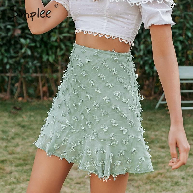 Simplee Elegant Flower Embroidery Short Skirt Women High Wiast Summer Female Skirts A-line Ruffled Streetwear Ladies Mini Skirts