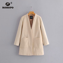 ROHOPO Beige Solid Straight Blend Coat Cover Button V Collar Side Pocket Chic Ladies Autumn Winter Wool Coat #87661 недорого