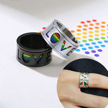 11mm Black Spinner Ring for Men Hollow Rainbow LOVE Wedding Band Glossy Stainless Steel Rotatable Stress Release LGBT Anel(China)