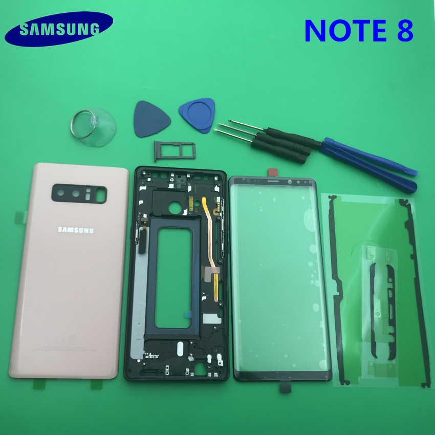 Note8 boîtier complet couverture arrière + lentille en verre d'écran avant + cadre moyen pour Samsung Galaxy Note 8 N950 N950F pièces complètes
