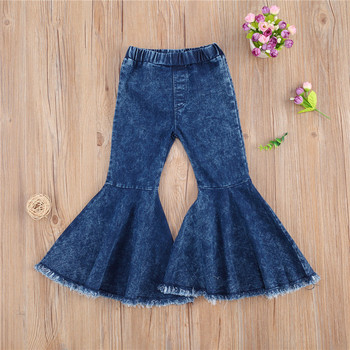 C 2020 new Toddler Baby Girl Flared Jeans Blue Bell-bottom High-waist Basic Denim Pants Spring Fall Outfit for 2-7 Years Old