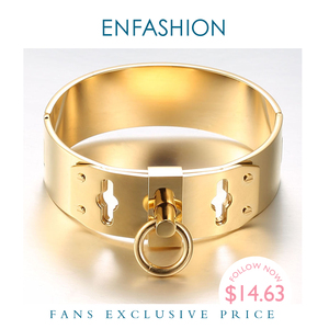 Image 1 - Enfashion Jewelry Circle Ring Wide Cuff Bracelet Noeud armband Gold color Bangle Bracelet For Women Bracelets Manchette Bangles