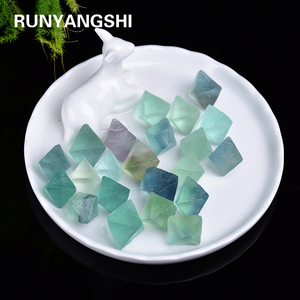 Natural Green fluorite Octahedral crystal point Raw Gemstone Ornament Cane Decoration Stone Collection Stone Crystals Mineral