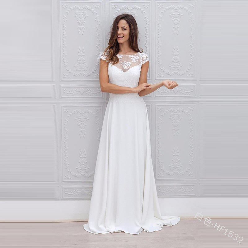 New Arrival White Lace Chiffon Wedding Dresses Long  A Line O Neck Court Trian  Lace Up Bridal Wedding Party Dresses 2019