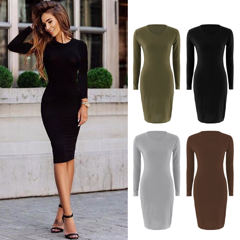 Autumn Spring Women Long Sleeve Dress Bodycon Sexy Slim Fit O-neck Casual Dresses NGD88