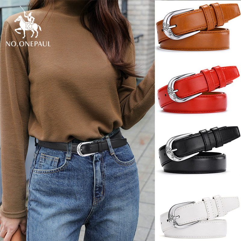 NO.ONEPAUL Genuine Leather Ladies Casual Fashion Jeans Belt High Quality New Alloy Pin Buckle Ladies Slim Waist Retro Trend Belt