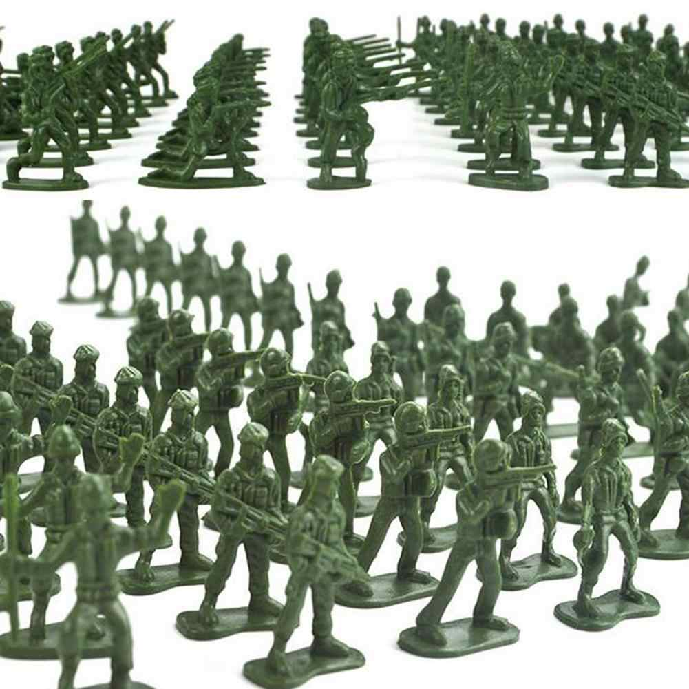 100Pcs Mini Classic Soldiers Army Men Figures Models Plastic Toy Playset Kit Desk Decor Gift Model Toy For Kids Boys
