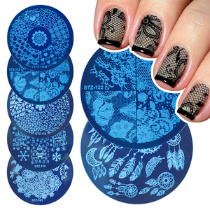 Small Round Nail Art Stamping Plates Summer Flowers Lace Dreamcatcher Image Stencils DIY Stamp Plate Stamper Tools LYSTZ101-130