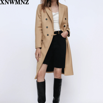 Za Women camel double-breasted coat Fitted coat with a lapel collar and long sleeves Front flap pockets Back vent at the hem za women double breasted check blazer long sleeve lapel collar blazer front flap pockets double breasted front button fastening
