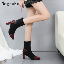 New Women Ankle Sock Boots 2019 Fashion Autumn Stretch Boots Chunky High Heels Pointed Toe Booties Women Shoes tinghon women ankle boots stretch fabric sock boots chunky high heels stretch women autumn winter sexy booties pointed toe boot
