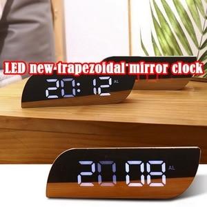 Night Lights Digital Mirror Clock LED Alarm Clock Battery Use Temperature Snooze Function Desk Clocks Table Clock Home Decor