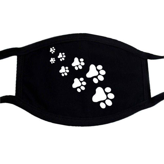 Cat Paws Printed Respirator Cartoon Lovely Black Washable Masks Keep Warm Cute Face Mask Dust Mouth Muffle Mask Kpop 1