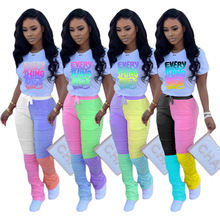 Wholesale tracksuit women two pieces outfit tie dye tee t-sh