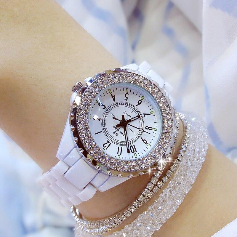2019 Luxury Crystal Wristwatches Women White Ceramic Ladies Watch Quartz Fashion Women Watches Ladies Wrist watches for Female 6