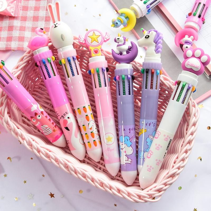 10 цветов Милая мультяшная Шариковая ручка для школы канцелярские товары Papelaria Escolar разноцветные ручки