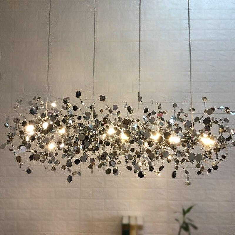 Modern Leaf Pendant Lighting Luxury Stainless Steel Gold/chrome Hanging Light  Terzani Argent Dinning Room Light Fixture