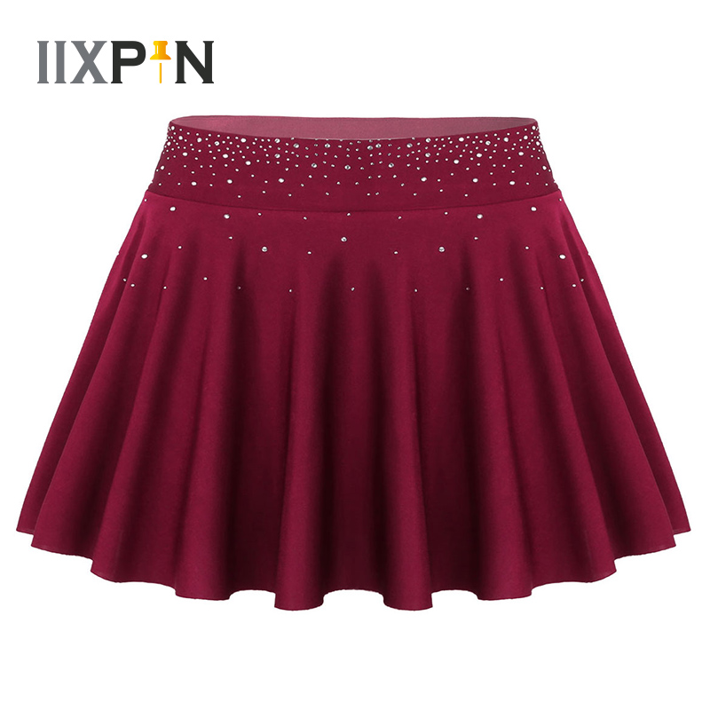 Women Ballet Skirt Dance Wear Gymnastics Ice Skating Skirt Shiny Rhinestone High Waist A-line Short Skirt With Built-in Briefs