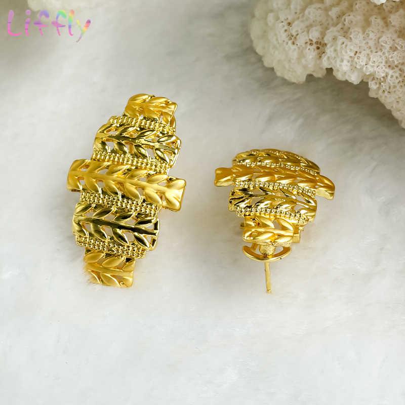 ดูไบ Gold ชุดเครื่องประดับสำหรับสตรีข้าวสาลีคลาสสิกสร้อยคอต่างหูแหวนสร้อยข้อมือ Charm แอฟริกันเจ้าสาวงานแต่งงานชุดเครื่องประดับ