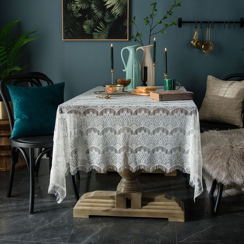 Country lace tablecloth openwork decorative cover cloth napkin <font><b>coffee</b></font> <font><b>table</b></font> eyelash <font><b>cafe</b></font> book <font><b>table</b></font> image