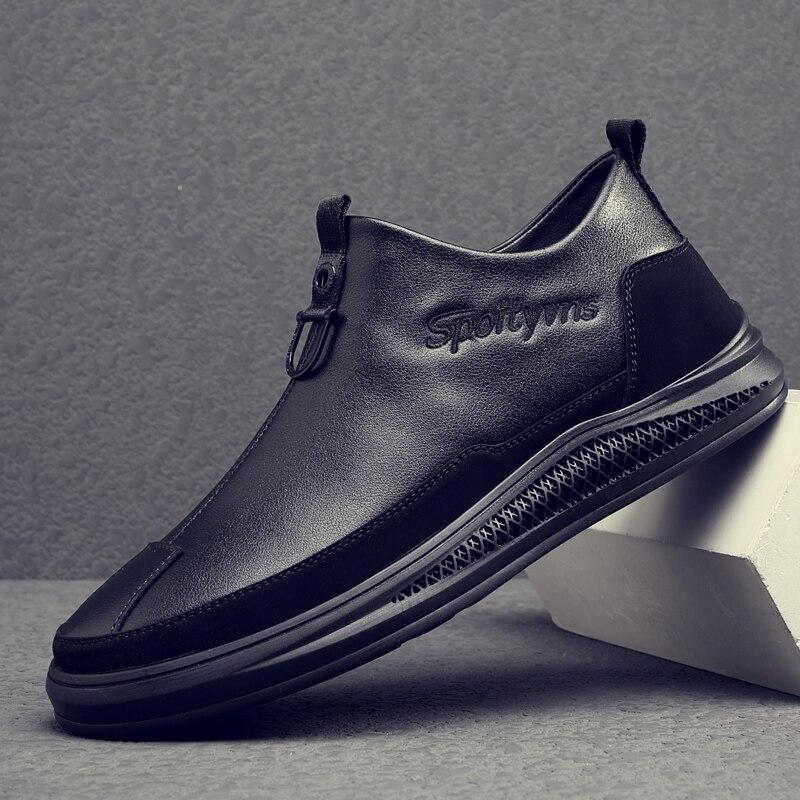 New Mens Leather Shoe Inside Fur Casual Shoe Men Zipper Fashion Men Shoes Comfortable Luxury Brand Mens Shoes Flats Mens Shoes