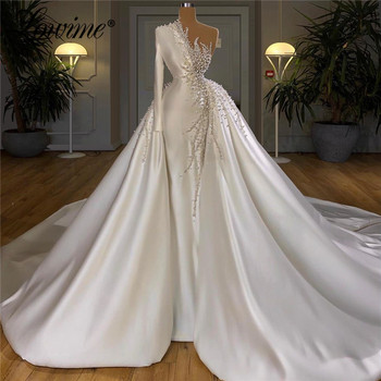 2020 Newest One Shoulder Heavy Pearls Beading Wedding Gown Muslim Dubai  Dresses Marriage Plus Size Bridal Gowns Custom - discount item  40% OFF Wedding Dresses
