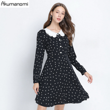 Autumn Spring Chiffon Dress Casual Women Plus Size 5xl Floral Peter Pan Collar Full Sleeve Mini Part