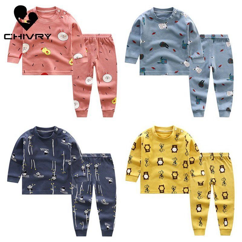 2020 New Kids Boys Cotton Pajama Sets Cartoon Print O-Neck Cute T-Shirt Tops With Pants Baby Girls Children Autumn Clothes Sets