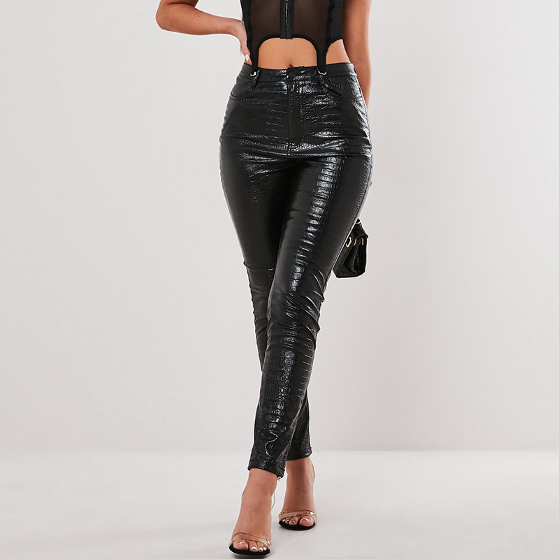InstaHot Black High Waist Pencil Faux Leather Pants Women Casual Elegant Carving Print Ankle Length Pants Streetwear Trousers 33