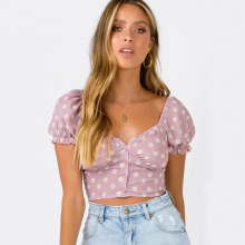NEW Fashion Women Sweetheart Neckline Button Up Crop Top with Puff sleeves Little Daisy Crop Blouse цена