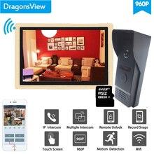 Dragonsview 10 Inch Draadloze Intercom Wifi Video Deurbel Met Camera Systeem 960P Unlock Record Bewegingsdetectie