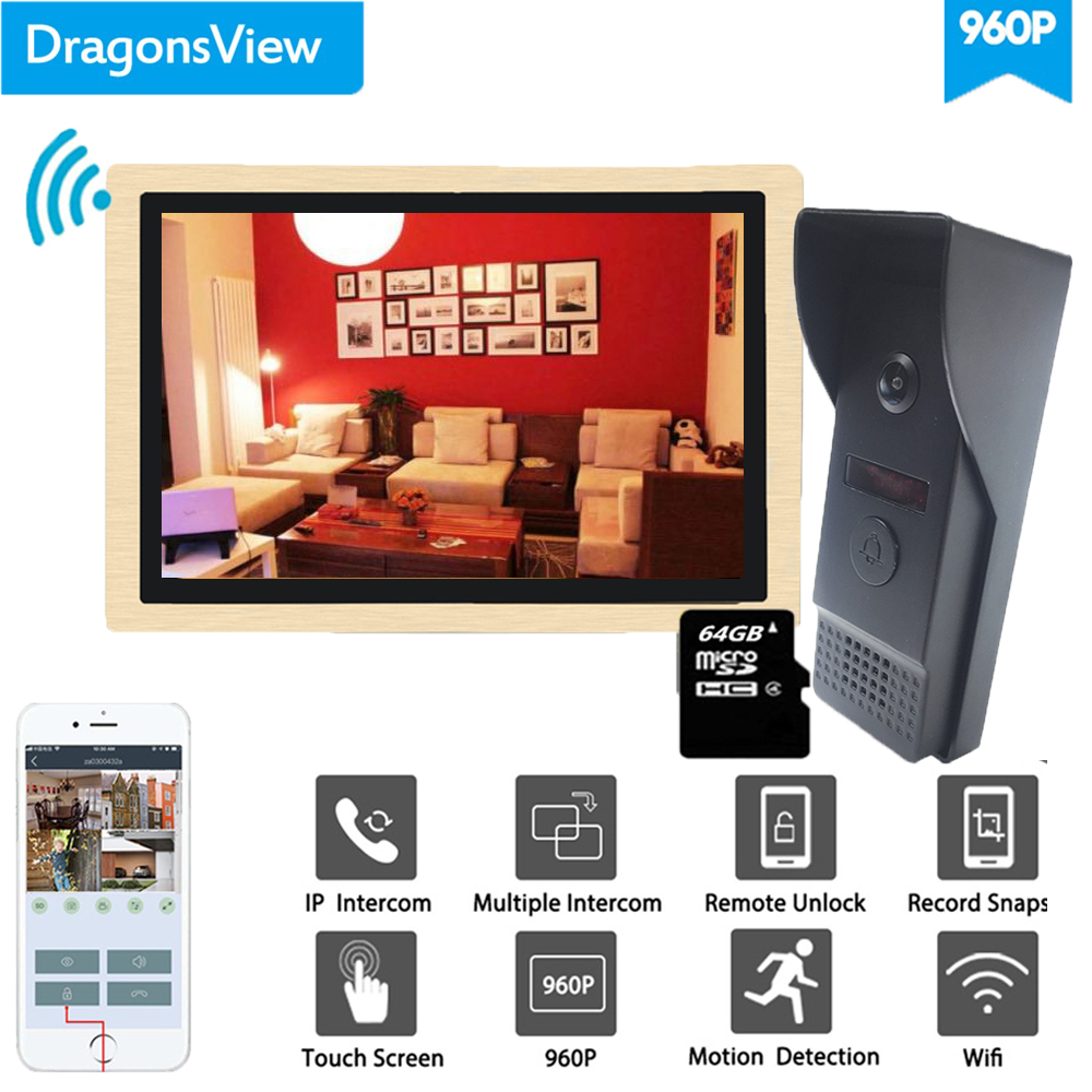 Dragonsview  10 Inch Wireless Intercom Wifi Video Doorbell With Camera System 960P  Unlock Record Motion Detection