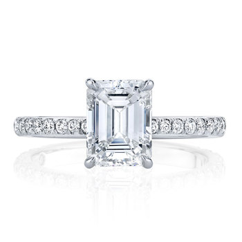 14K  Gold Moissanite Solitaire Emerald Cut Engagement Ring  6
