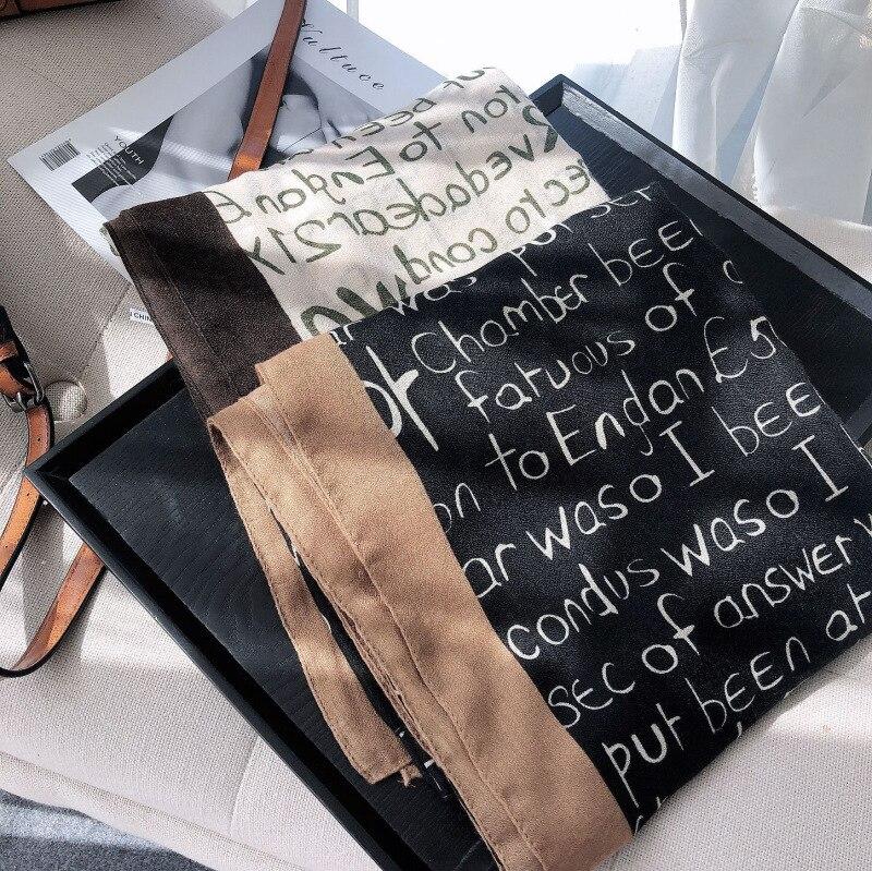 2020 Nordic Style Letter Cotton Lineasilk Scarf Autumn Winter Hundred Temperament Letter Letter Scarf Women's Winter Black Shawl