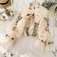 Autumn Women Chiffon Bow Collar Drawstring Embroidery Shirt Urban Ladies Loose Solid Color Thin Long Sleeves Blouse Suits