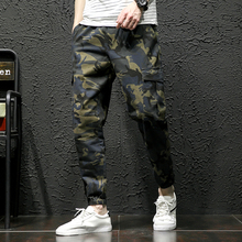 2019 Men Fashion Streetwear Mens Jeans Jogger Pants Youth Casual Summer Ankle Banded Pants Brand Boot Cut Camouflage Jeans Pants