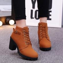 купить Boots Women Shoes Woman Fashion High Heel Lace Up Ankle Boots Ladies Buckle Platform Bota Feminina 2019 Leather Shoes Female дешево