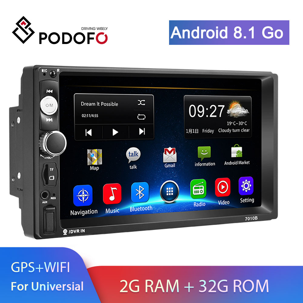 Podofo 2din Car Radio 2+32G Android GPS Navi Car Multimedia Player For VW TOYOTA GOLF Nissan Hyundai Kia CR-V autoradio