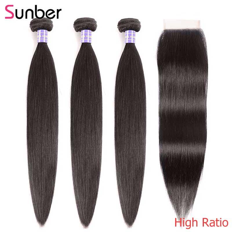 Sunber cabelo malaio cabelo em linha reta 3 pacotes com fechamento cor natural de alta relação tecer cabelo remy pacotes com fechamento do laço