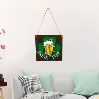 Wood Hanging Board Creative Beautiful Beer Festival Saint Patrick's Day Hanging Drop for Home Festival Party (With A Hemp 1