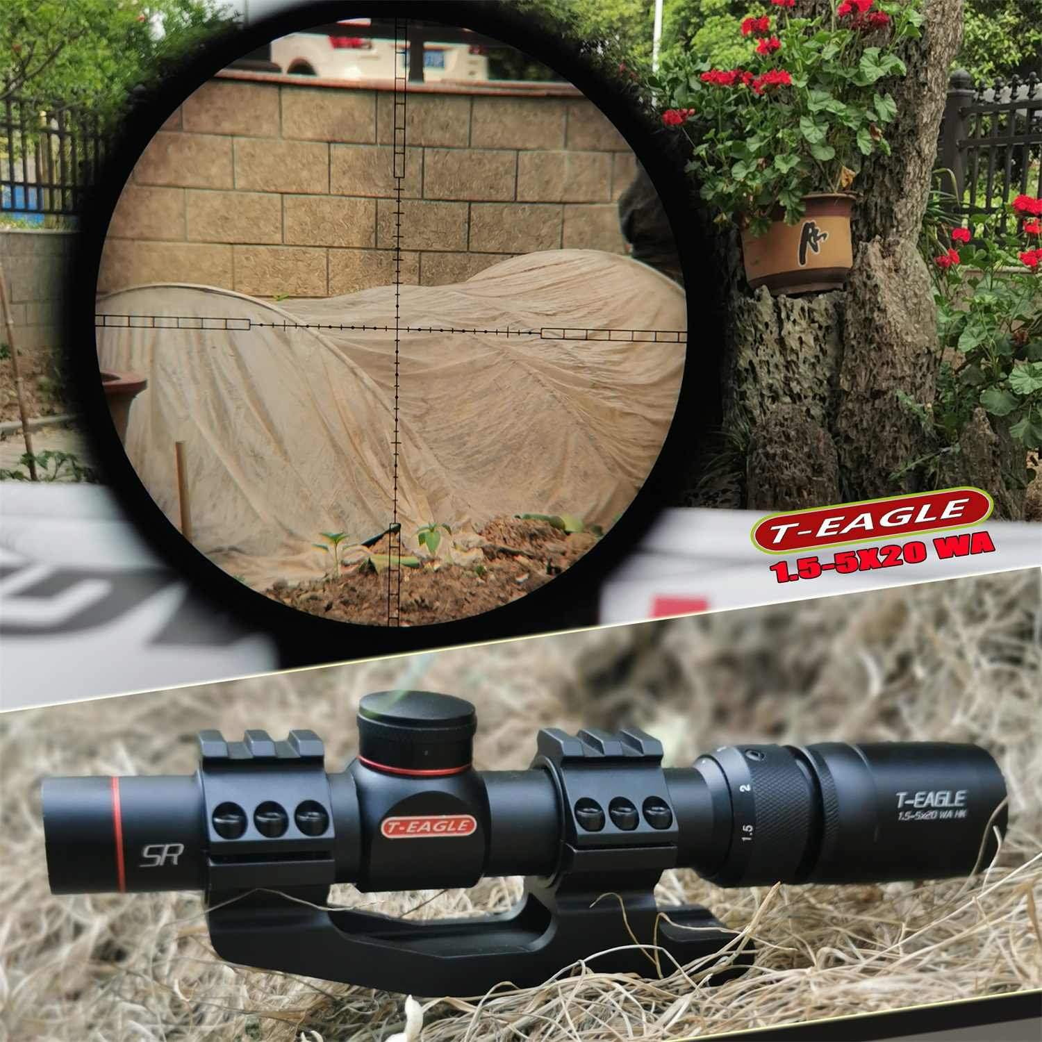 טינשיר R1.5-5X20 טקטי בסיס צלף ציד אופטיקה Riflescopes airsoftsports הלם הוכחת סופר ראיית רובה היקף sight