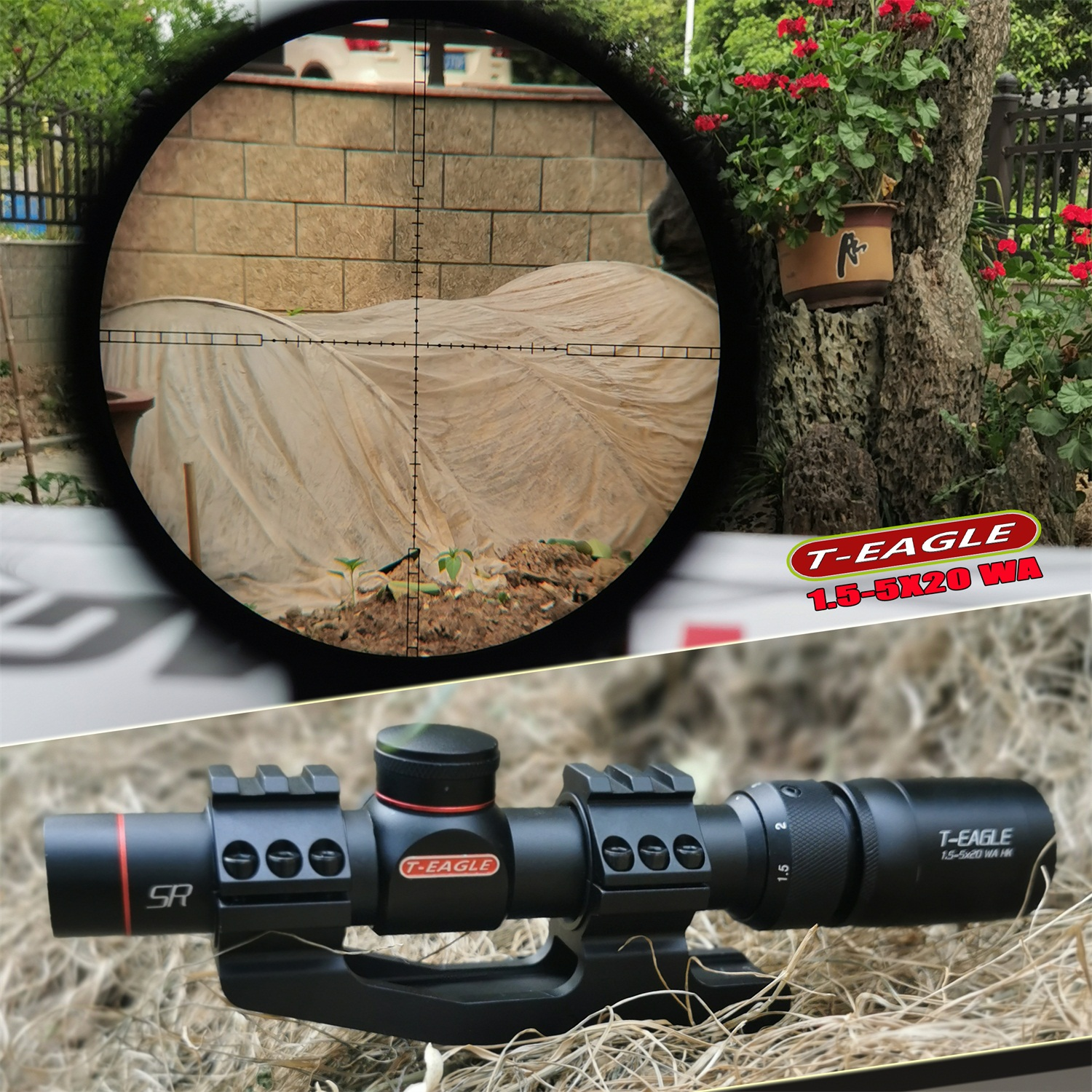 TEAGLE R1.5-5X20 Tactical RiflesScope Sniper Hunting Optics Riflescopes Airsoftsports Shock Proof Super Vision Rifle Scope Sight