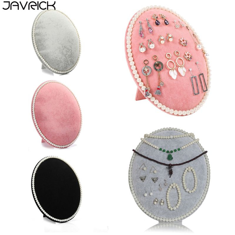 Velvet Oval Earrings Necklace Bracelet Pearl Jewelry Display Organizer Holder