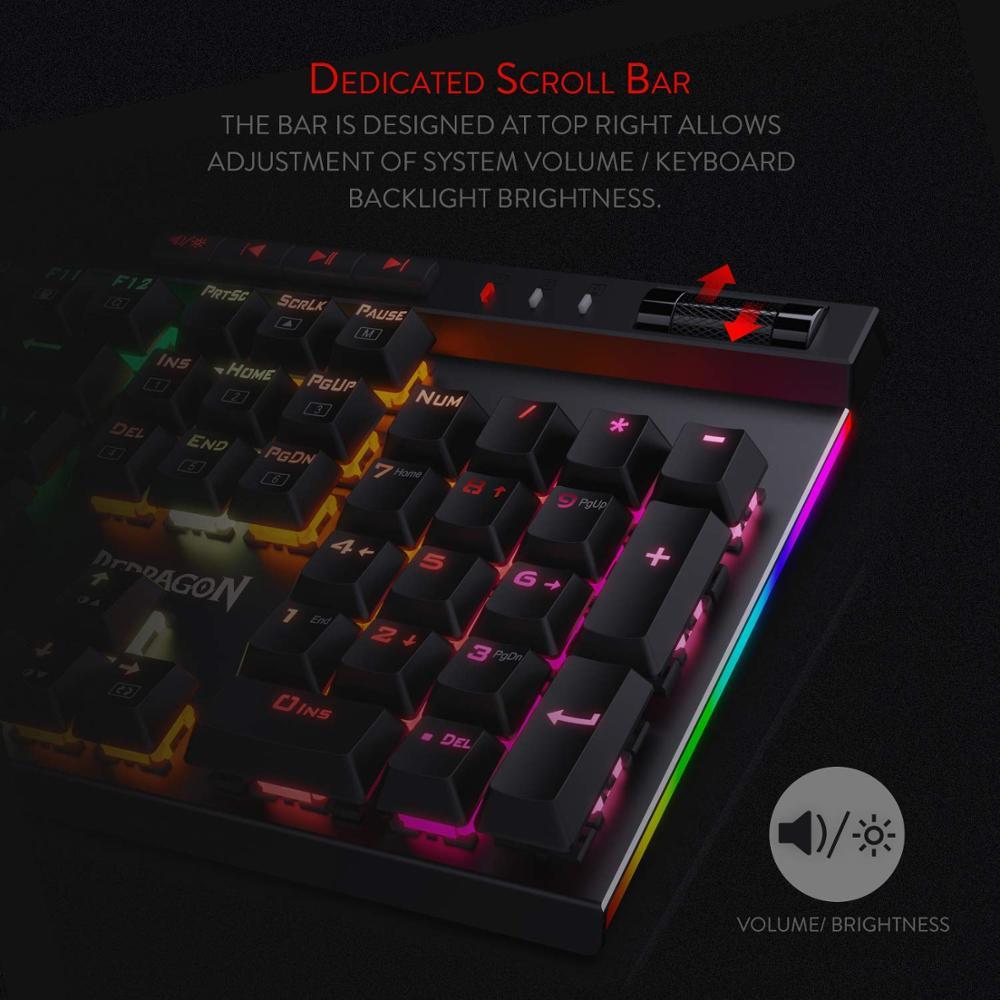 Image 2 - Механическая игровая клавиатура Redragon K580 VATA, RGB светодиодный с подсветкой 104 клавиши, анти ореолы, макроклавиши, синие переключатели для DOTA 2 геймеровКлавиатуры    АлиЭкспресс